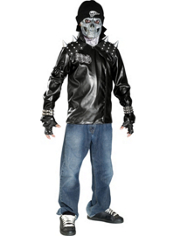 Metal Skull Biker Costume Teen Boys