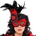 Red Lolita Feather Mask Adult