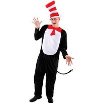 Dr. Seuss Cat in the Hat Jumpsuit Costume Adult